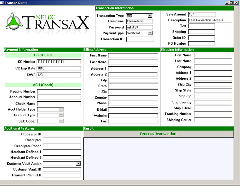 TransaX FleXport contains dox and examples for integrating credit card and ACH within any application! Access, ASP, .NET, FileMaker, 4D, PHP, ColdFusion, iMIS, Ruby, QuickBooks, Flash/Flex, FoxPro, VB6, Lasso, Android and JAVA, PERL, Excel, CGI